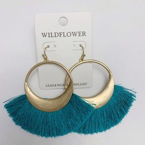 Teal & Brushed gold tassel earrings